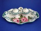 Lovely Wemyss Ware 'Cabbage Roses' Double Victoria Inkstand c1900